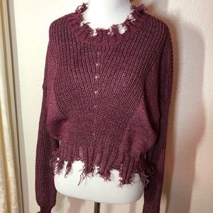 Forever 21 Maroon Distressed Crop Sweater